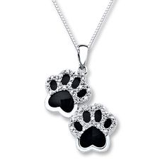 I want this !!!!! Onyx Paw Print Necklace 1/10 ct tw Diamonds Sterling Silver