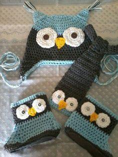 conjunto buho crochet