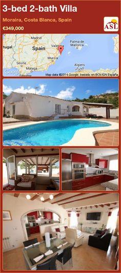 3-bed 2-bath Villa in Moraira, Costa Blanca, Spain ►€349,000 #PropertyForSaleInSpain