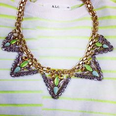 Our new Palmia necklace over a neon stripe is simple and gorgeous! #ootd #stelladotstyle by Stella & Dot