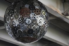 Recycled Bicycle Parts Chandeliers Fill an Underpass with Light | from Junkculture