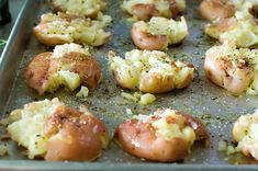 Boil, smash, season, bake. These are the BEST potatoes ever. They get crispy & golden in the oven. From the Pioneer Woman.