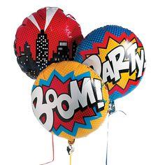 Superhero Mylar Balloon Set - OrientalTrading.com because we have helium!!