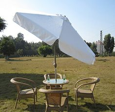 Specification:2.7m parasol with tilt Frame material: Aluminum alloy with champagne color powder coated Pole diameter: 38mm Rib:14*20mm,8ribs Fabric material: 230g Polyester Open diameter: 2.7m Optional opening style: Hang-cranking/Rope and pulley Shape: Roundness
