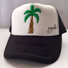 Palm Tree Embroidered Hat Wave Stencil, Embroidered Hats, Palm Trees, Hand Stitching, Sewing, Handmade, Collection, Color, Palm Plants