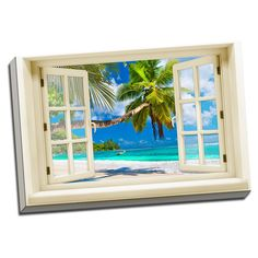 Ocean and Sand Beach View Printed on Framed Ready to Hang Canvas