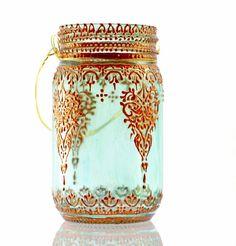 Aqua Mason Jar Lantern with Moroccan Henna Styled by LITdecor