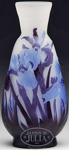 IMAGE: Galle Cameo vase having purple cameo leaves and light blue cameo iris…