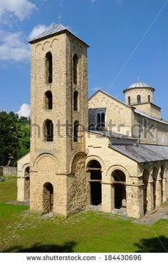 Monastery Sopocani bell tower, Serbia - stock photo
