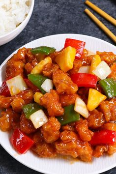 Crispy outside and tender on the inside this Sweet and Sour Chicken recipe also features the most luxurious sweet and sour sauce thats so addictive. Its one of my favorite Chinese chicken recipes Homemade Chinese Food, Chinese Chicken Recipes, Easy Chinese Recipes, Easy Chicken Recipes, Asian Recipes, Healthy Recipes, Tandoori Masala, Sweet Sour Chicken, Sour Taste