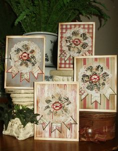 My Christmas Cards 2012 - Using Bazzill Basic Holiday Paper Packs, Paper Doilies by Wilton, Papertrey Ink Button and Banner dies, Alterations Tattered Floral die and Waverly Toile Fabric.