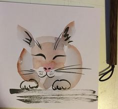 cat bunny. sumi-e brushes can be loaded with multiple colours which are simultaneously released in the same brush stroke. Here I made gradients ombre grey and brown