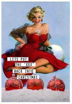 Last Minute Christmas Shopping – Get Ready for Christmas - X X X X X X – retro Xmas funny…. Naughty Christmas, Retro Christmas, Christmas Images, Little Christmas, Christmas And New Year, Christmas Holidays, Naughty Santa, Bad Santa, Retro Humor