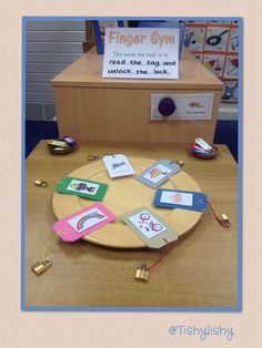 Finger Gym (reading focus) with padlocks. Could do this with rhyming words using picturesMade with PicCollage.Early Years ideas from Tishylishy. Motor Skills Activities, Phonics Activities, Gross Motor Skills, Classroom Activities, Activities For Kids, Phonics Display, Eyfs Classroom, Classroom Displays, Finger Gym