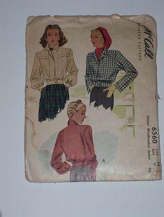 Vintage 40s Windbreaker Jacket Pattern McCall 6360 Size 14 Bust 32. $10.00, via Etsy.