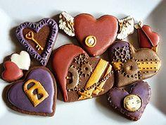 Steam punk valentine cookies