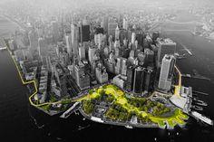 """The """"Big U"""" wraps around Battery Park. (Courtesy BIG)"""