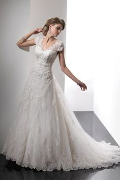 Pretty V Neck Cap Sleeve A Line Wedding Dresses