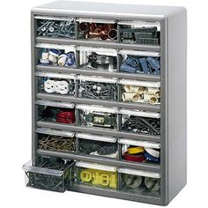 Stack-On 18-Bin Plastic Drawer Cabinet, Silver Gray-WALMART- For odds and ends in the classroom :)