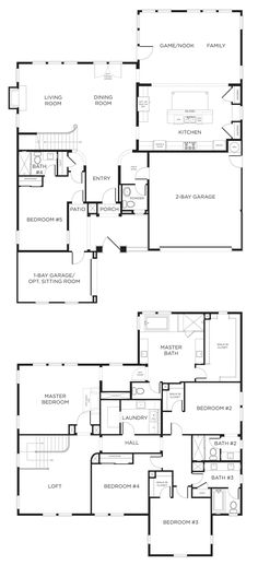 5 bedroom house plan. I'd move the 5th room upstairs and change it to a den/library downstairs.