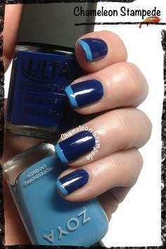 Blue French  Chameleon Stampede Nail Blog