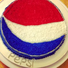 Buttercream, Pepsi-themed cake. Just for fun. Next time. I'll flavor it with Pepsi in the mix...