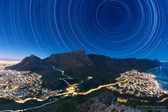 Star Trails above Table Mountain. Image Credit & Copyright: Eric Nathan