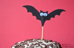Halloween Black Bat with 3D Eyes Cupcake Toppers. 20 Pieces