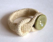 Christmas gift for her Crochet linen bracelet with olive green button beige wheat bangle cuff handmade Birthday gift for her