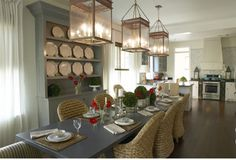 kitchen/dining combo.... pop of red in the flowers (: