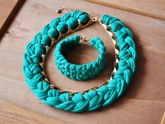 Fabric yarn and chain necklace and bracelet