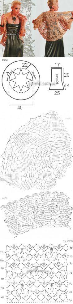Bolero crochet connected in a circle.  Description scheme, pattern