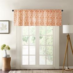 This textured diamond motif window valance is the perfect solution to add just a touch of fresh color to any room. Printed on cotton blend twill with natural appeal and easy care.  Features a rod pocket top finish and fits up to a 1.25