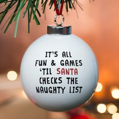 Personalised Bauble - Naughty List | GettingPersonal.co.uk