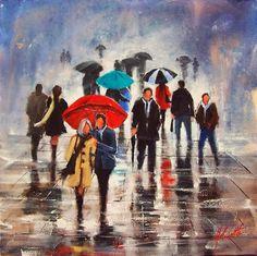 Painting rain Helen Cottle, Australian self-taught artist - Art Kaleidoscope Rain Painting, Street Painting, Melbourne Art, Umbrella Art, Romantic Images, Australian Artists, Pictures To Draw, Beautiful Paintings, Artist Art