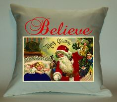 Believe 18X18 Christmas Decorative Pillow by PillowTalkandMoreSTL, $29.99