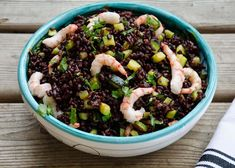 While in Italy I had black rice with shrimp and zucchini and thought it would be a nice dish to make at home. I brought a few pounds of black rice with me back to the U. Rice Recipes, Dinner Recipes, Healthy Recipes, Healthy Food, Black Rice, Health Dinner, Quinoa Rice, Antipasto, Food Hacks