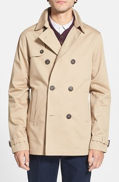 Topman Double Breasted Herringbone Mac Jacket available at #Nordstrom