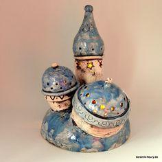 Deko-Objekte - Orientalisches Lichtschloss Keramik Windlicht - ein Designerstück von kreativwerkstatt-fleury bei DaWanda