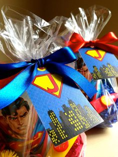Superman favors by rizOHcollection. Superhero Party Favors, Superhero Birthday Party, 1st Boy Birthday, Boy Birthday Parties, Birthday Ideas, Superhero Kids, Unique Party Favors, Party Favor Tags, Superman Party