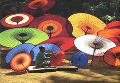 Pathein. Very famous for their traditional Pathein Umbrellas and Halawar Dessert.