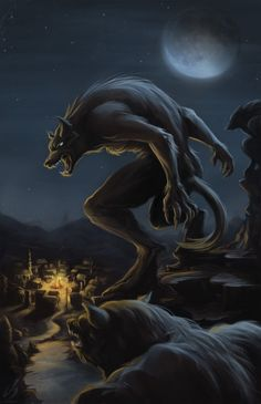 Werewolf Attack by bilow on deviantArt: 1. These are what the werewolves I write about look like. 2. There are bad guys down in the village.  The wolves are there to save the day, even though the villagers hate and fear them.