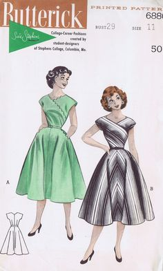 50s VINTAGE 1 PC DRESS SEWING PATTERN 6880 BUTTERICK full skirt stripes black grey white green day party cocktail criss cross front neckline short sleeves vintage fashion