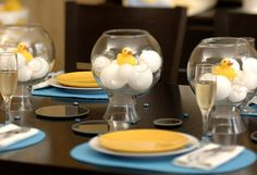 Rubber Duck Baby Shower Party Ideas.  Maybe we can dye the cotton balls pink?