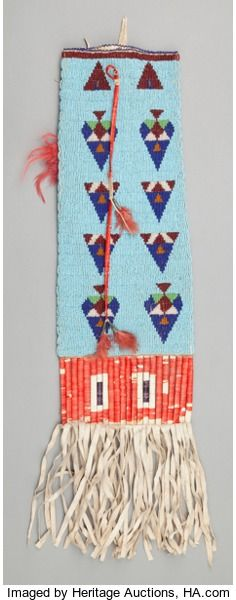 SIOUX BEADED HIDE TOBACCO BAG. c. 1910