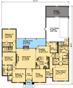 Plan 75434GB: Master With Optional Sitting Room
