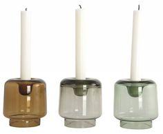Housedoctor Kerzenständer im 3er-Set aus Glas, braun, grau, grün, Ø9x10cm