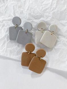 Diy Clay Earrings, Earrings Handmade, Dangle Earrings, Diamond Earrings, Handmade Polymer Clay, Polymer Clay Jewelry, Clay Beads, Bijoux Diy, Ceramic Jewelry