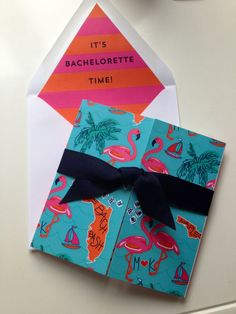 Lilly Pulitzer inspired #bachelorette #party invitations for a bachelorette in Naples!! We love the #flamingo and striped envelope liner! #BeachBachBash I Custom by Nico and Lala
