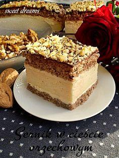 Sernik w cieście orzechowym Polish Desserts, Polish Food, Polish Recipes, Jello, Cheesecakes, Sweet Dreams, Mousse, Sweet Tooth, Food And Drink